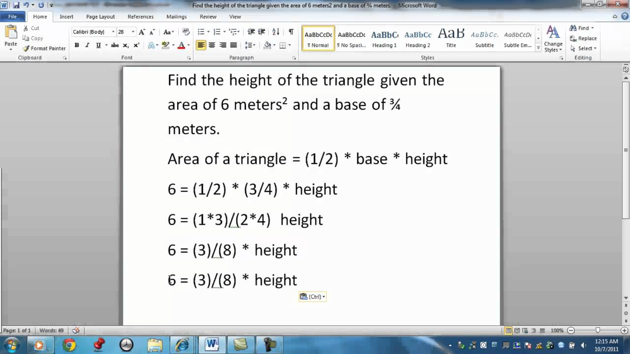 how to find triangle height