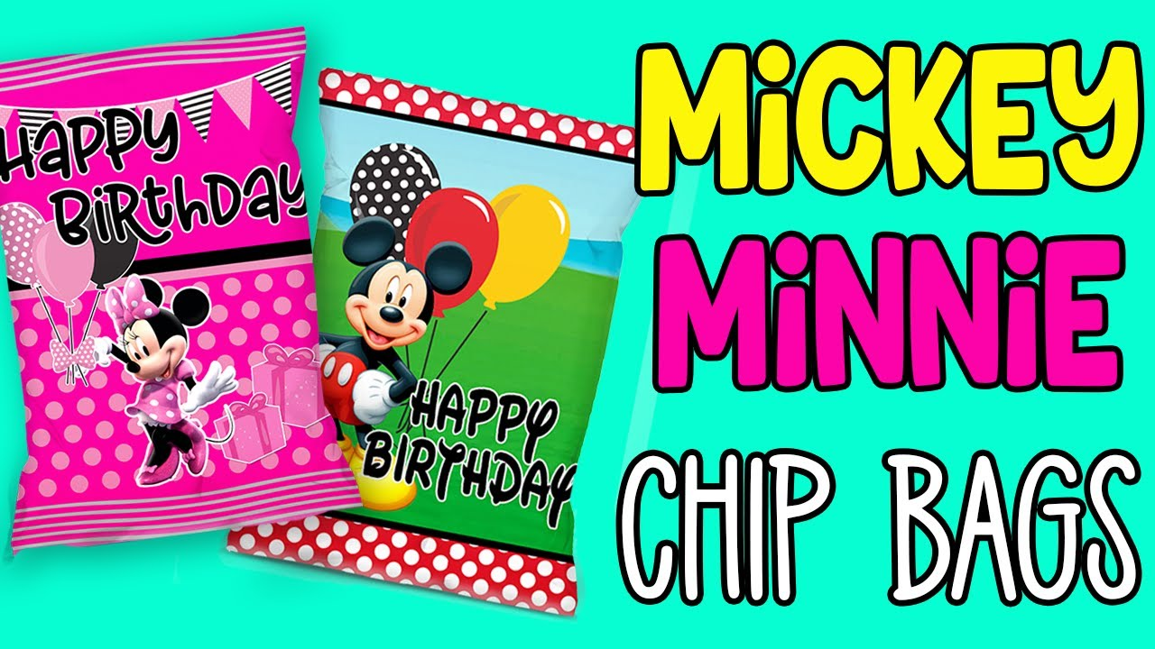 Minnie Mouse Pink and Gold Favor Bags-Custom Chip Bags-Minnie Mouse Birthday-Digital-Printable Minnie Mouse-Printed-Party Bags-Party Favors