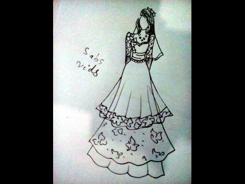 How to draw wedding dress. - YouTube