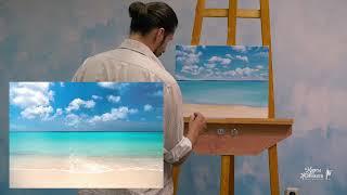 Райский морской пейзаж маслом, урок, мастер класс как рисовать маслом. Часть 3/3