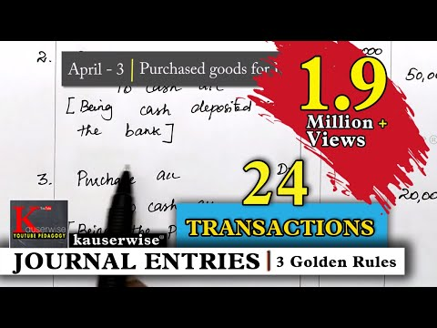 Journal Entry for [24 Transactions] Simple explanations :-by kauserwise