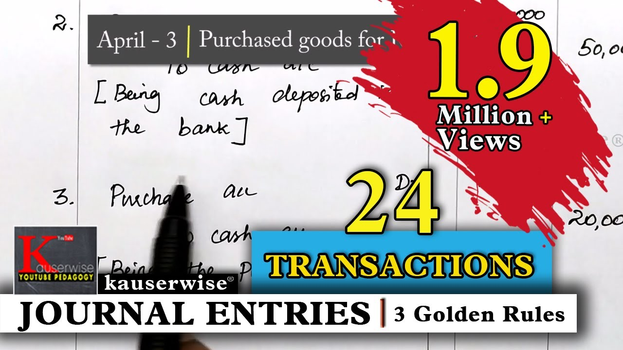 journal entry for 24 transactions simple explanations by