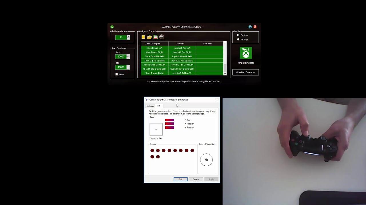 DS4 Tachpad in the WoJ XInput Emulator