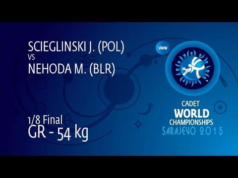 1/8 GR - 54 kg: M. NEHODA (BLR) df. J. SCIEGLINSKI (POL), 7-0