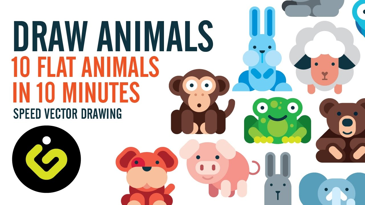 how to draw animals 10 flat design animals in 10 minutes speed drawing in adobe illustrator youtube