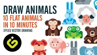 How To Draw Animals, 10 Flat Design Animals in 10 Minutes, Speed Drawing in   Adobe Illustrator
