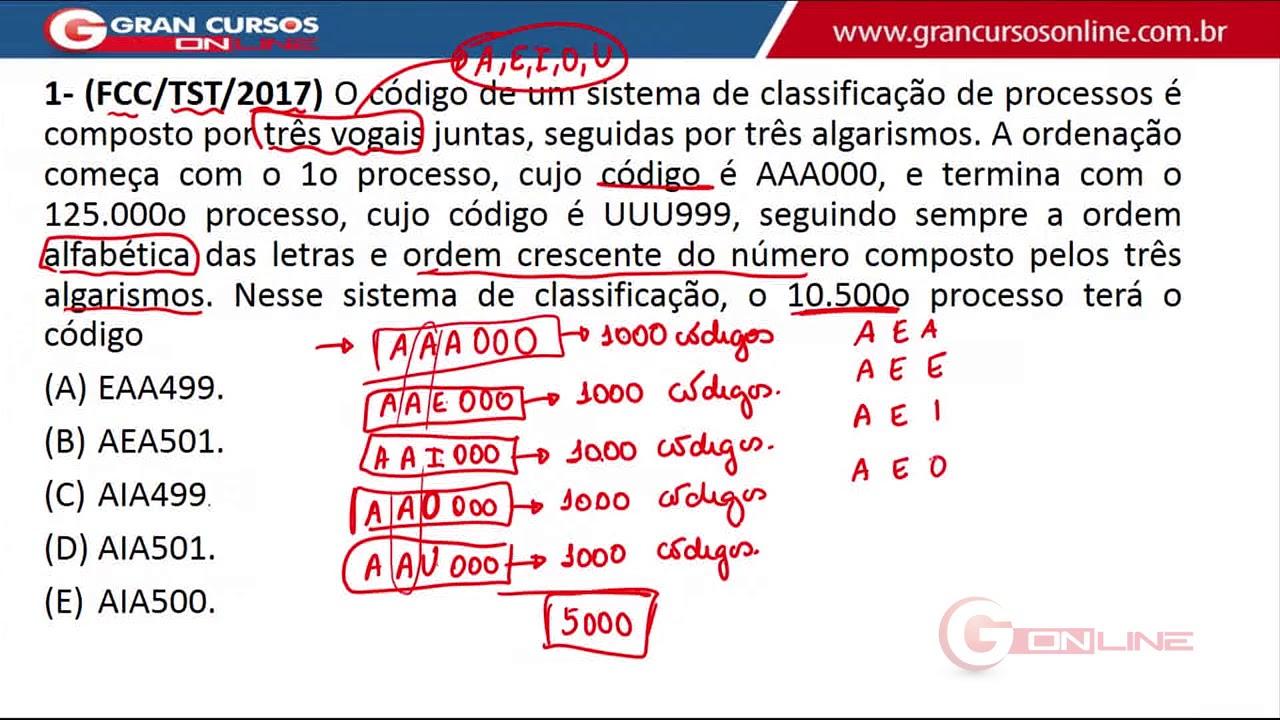 Fcc Técnico Raciocínio Lógico Matemático Com O Prof Luis Telles