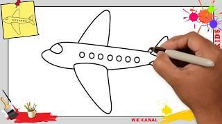 Flugzeug zeichnen schritt für schritt für anfänger & kinder - Zeichnen lernen 4