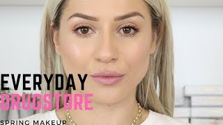 EASY &  FAST EVERYDAY SPRING DRUGSTORE MAKEUP || GIO DREVELI ||
