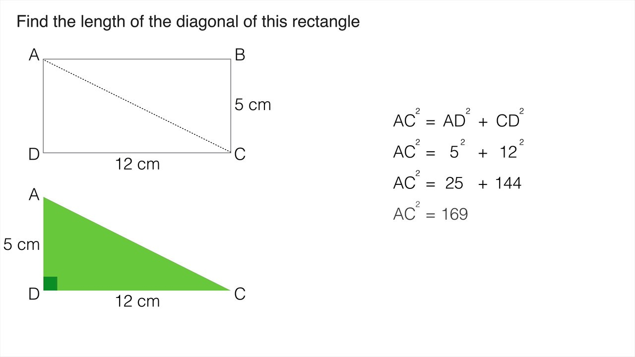 How to find the diagonal of a rectangle 54