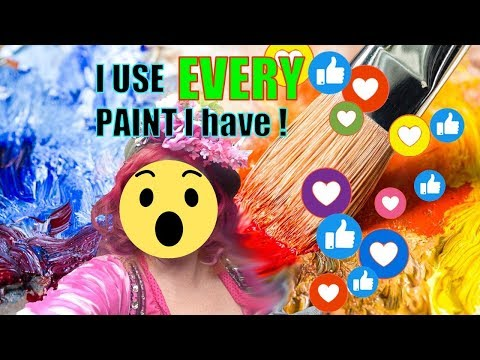 Over  I USE EVERY acrylic paint I OWN on one painting LIVE STREAMING