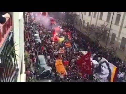 3/4/16 - Lazio vs Roma 1 - 4 - La Curva Sud a Testaccio canta l'Inno di Testaccio