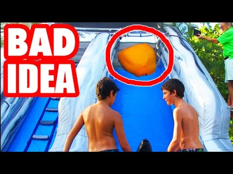 HUMAN BOWLING WITH GIANT 6FT WATER BALLOON! Slip N Slide Of Death