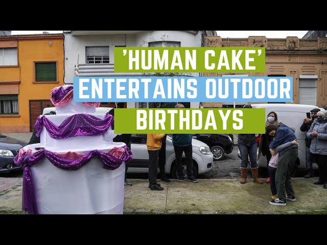'Human cake' entertains outdoor birthdays amid pandemic   | 9 News HD