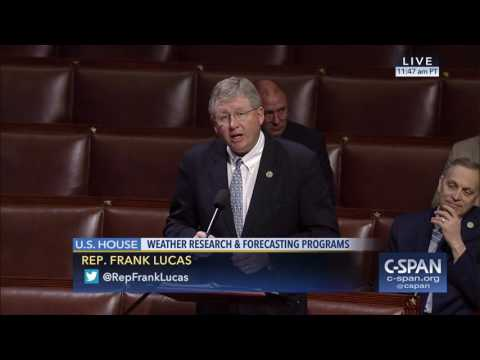Vice Chairman Lucas Speaks on the Weather Research and Forecasting Innovation Act