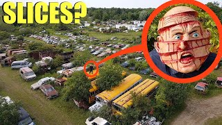 drone catches Slices the Demon at this abandoned car scrap yard (we found him)