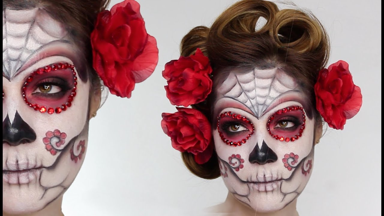 Easy Sugar Skull Day Of The Dead Makeup Tutorial For Halloween - Day-of-the-dead-makeup-tutorial-video