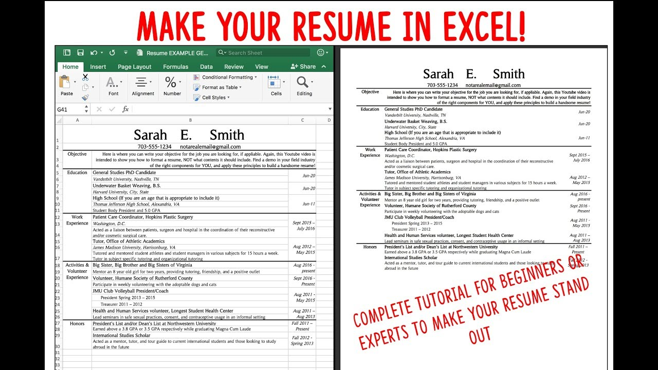 make a resume    cv using excel  fast  attractive  and easy