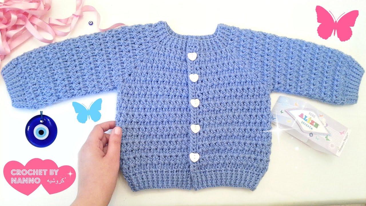 87070eada  جاكيت اطفال كروشي كل المقاسات🎀 #1 قناة#كروشيه_مع_ناننو Seamless Crochet  jacket for baby & childs - YouTube