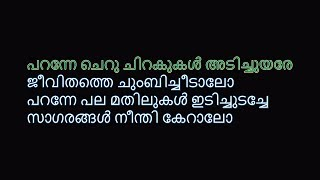 പറന്നേ KARAOKE (Koode) Paranne Karaoke With Malayalam Lyrics