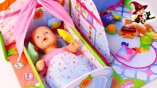 Casa de Bebe de Juguetes con Cuna y Zona de Juego thumbnail