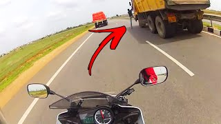 Guy jumps Truck on Highway + R15 Top speed + Touring Luggage Wife?