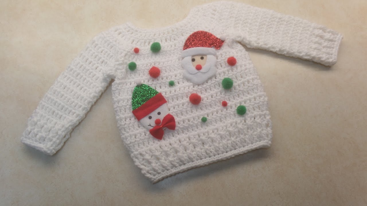How To #Crochet Cute Baby Ugly Christmas Sweater 12-18 months 18-24 ...