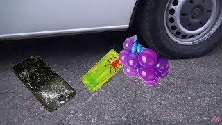 Раздавили игрушки машиной АНТИСТРЕССЫ и ТЕЛЕФОН Crushing Crunchy & Soft Things by Car!