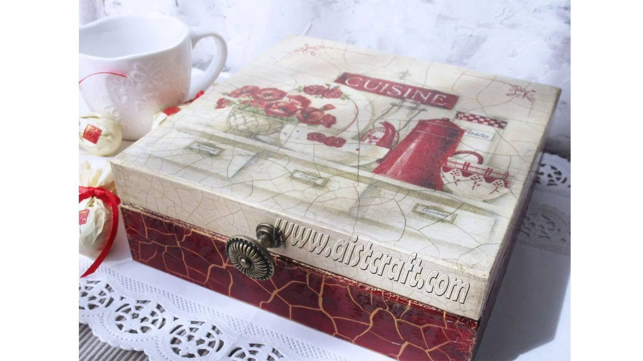 Crackle Paint Tutorial Decoupage Box With Napkin Without