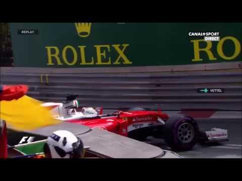 Vettel's crash & team radio during FP2 in Monaco.