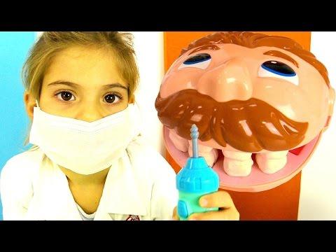😃  Детское видео. Игры #СТОМАТОЛОГ: Мистер #ЗУБАСТИК - лечим зубы. Пластилин Плей До