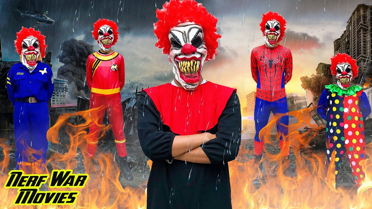 Nerf War Movies: Couple Spider X Warriors Nerf Guns Fight Criminal Group Killer Clown Attack