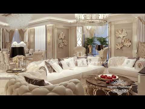 Роскошный интерьер гостиной в светлых тонах