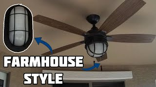 How to Install Farmhouse/Industrial Style Ceiling Fan & Lights | Outdoor Lighting Upgrade DIY