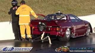 MAZDA RX7 GETS OUT OF SHAPE AND HITS THE WALL AT SYDNEY DRAGWAY 4.7.2015