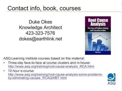 ASQ Webcast - Get the Defects Out of Root Cause Analysis