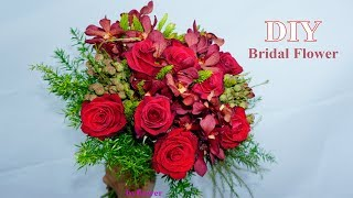 How to make Bridal Bouquet Red style at home |Wedding Decor
