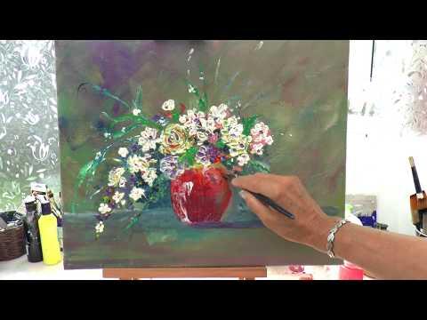 Ваза появляется сама. Цветы мастихином. #1Акрил.How To Create Vase Without Painting It.
