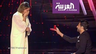 صباح العربية: حماقي يخطف شيماء في ذا فويس بخاتم وزفة