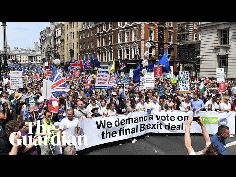 About 100,000 people fill streets in central London for anti-Brexit march
