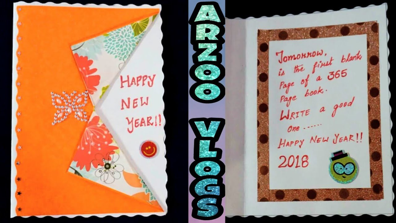 Diy 2018 new year greeting card making for kids cute simple diy 2018 new year greeting card making for kids cute simple new year cards arzoo vlogs kristyandbryce Gallery