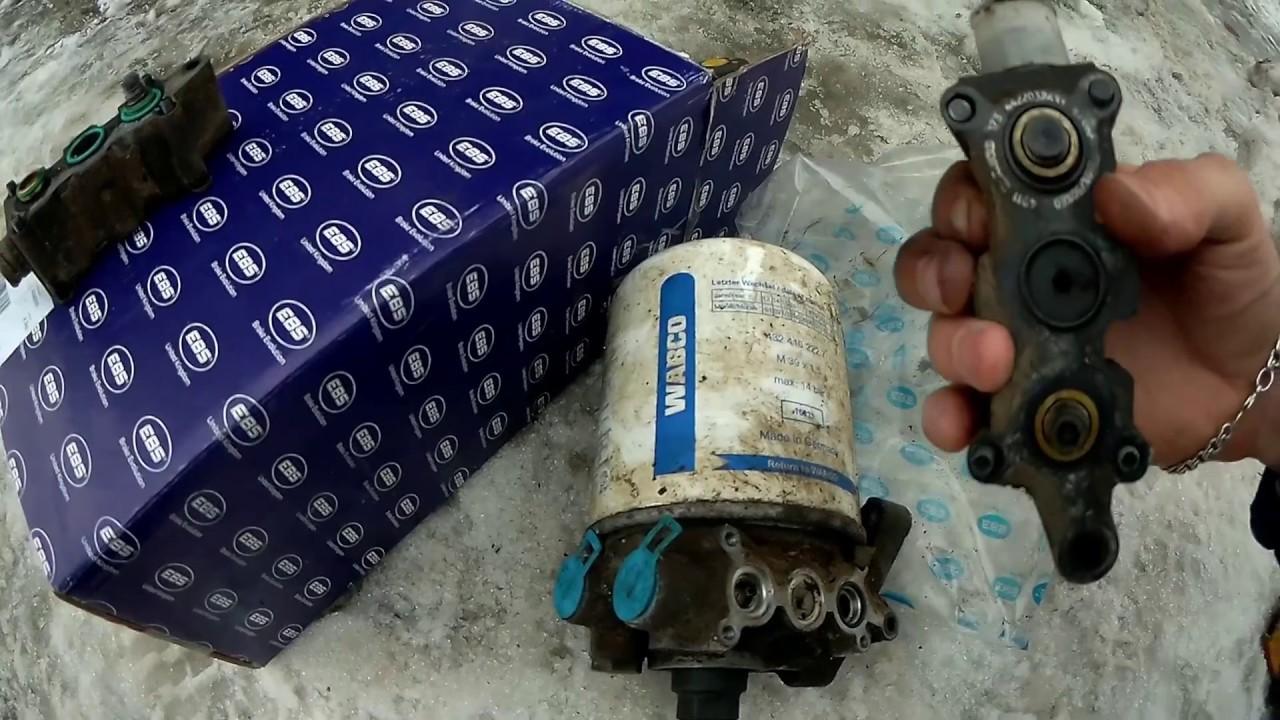 Осушитель воздуха травит воздух с аварийного клапана Вольво ФШ ФМ.Volvo FH13 air dryer misses out