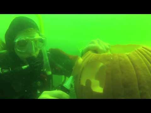 Underwater pumpkin carving Haigh Quarry IL 2012