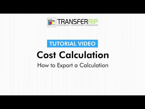 TransferRIP Part 4 - #3   How to Export a Calculation - Cost Calculation