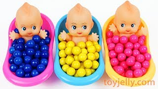 Learn Colors Baby Doll Bubble Gum Bath Time Surprise Toys Baby Finger Family Song Kid Nursery Rhymes