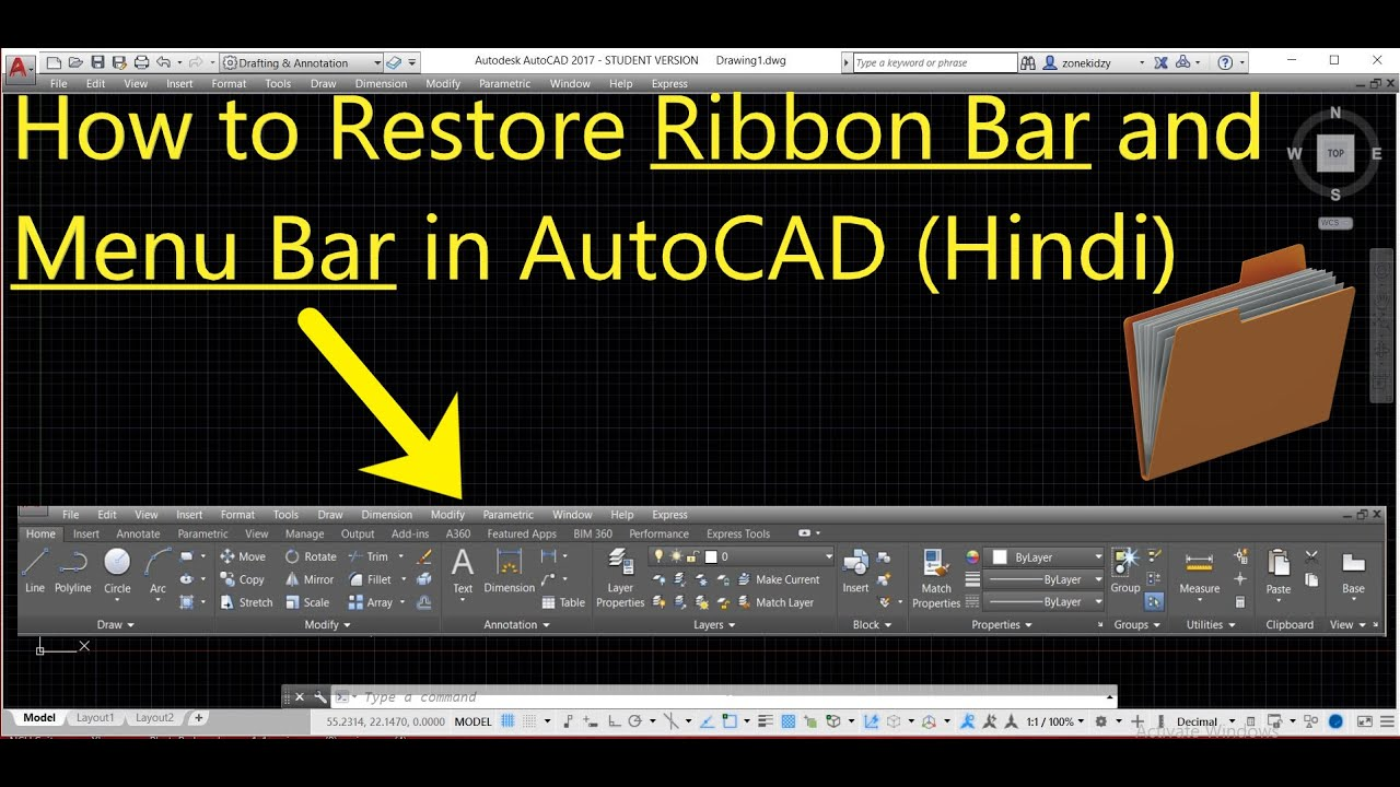 How to Restore Ribbon Bar and Menu Bar in AutoCAD Hindi