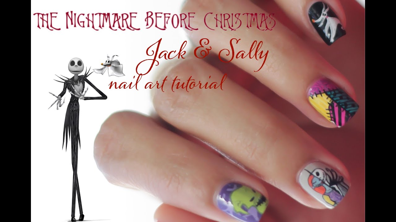 The Nightmare Before Christmas Jack And Sally Nail Art Tutorial