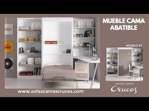 Mueble cama abatible en vertical modelo v3 youtube for Cama escondida en mueble
