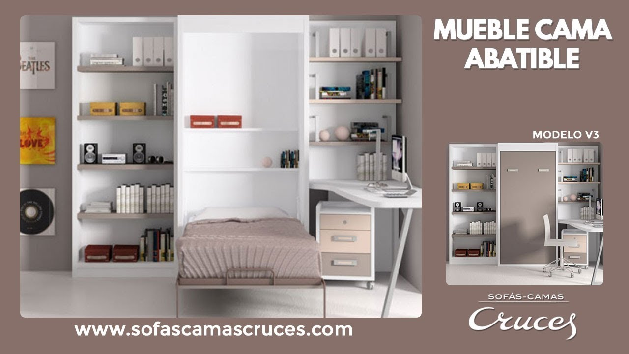 Mueble cama abatible en vertical youtube for Sofa cama armario