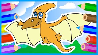 Рисуем динозавра с крыльями. Раскраска. Птеродактиль. Для детей